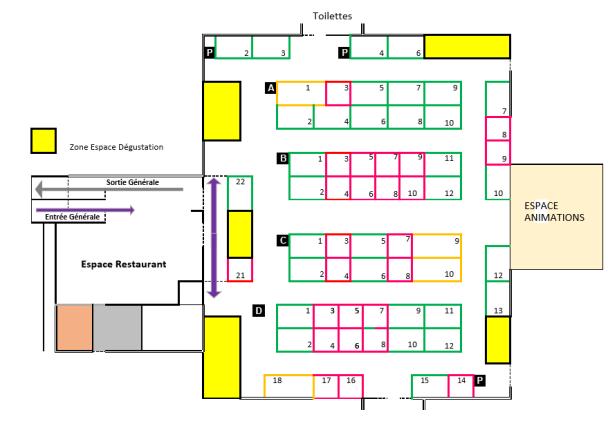 Plan de la salle Paul Eluard - Salon Vinamour Printemps 15.16.17 Avril 2016 à la Ciotat